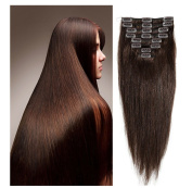 Clip in 100% Remy Human Hair Extensions Thick As Double Weft Clip On Full Head Long Soft Silky Straight 8pcs Full head 18clips Hairpieces for Women Fashion 25cm - 60cm