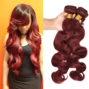 Top Hair Brazilian Virgin Remy Human Hair Extension #33 Bundles Body Wave Brazilian Hair 3 Bundles Body Wave Weave Mixed Length 25cm - 60cm 100g/Bundle