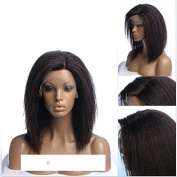 Bob Style 150% Density Kinky Straight Wigs For Women Off Black Colour Glueless Synthetic Hair Lace Front Wig