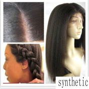 Ligt Yaki Straight Synthetic Lace Wig Yaki Glueless Heat Resistant Lace Front Wigs Synthetic For Black Women