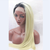 Natural Hair Blonde Silky Straight Synthetic Short Dark Roots 1b#/#613 Two Tone Lace Wig for Woman