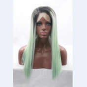 Ombre Mint Green Synthetic Lace Front Straight Two Tone Heat Resistant Hair Wig Long Lace Front Wigs Black Women