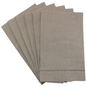 6 Pack - CleverDelights Natural Linen Hemstitched Hand Towels - 36cm x 60cm - 100% Linen - Tea Towels