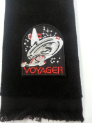 Voyager Fingertip Towel Black Vintage Star Trek Applique United Federation of Planets