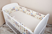 Cot bumper with Nest Head Guard Bumper 420x30 cm 360X30 CM 180x30 cm Cot Bumper Owl Cot Bumper Bed Ecru & Blue Large