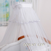 LUXURIOUS CANOPY DRAPE ONLY to fit Baby Cot or Cot Bed 320cm-WHITE