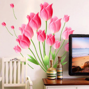 Pink Tulips Flowers Wall Sticker Paper Home Decal Removable Wall Vinyl Living Room Bedroom PVC Art Picture Murals Waterproof DIY Stick for Adults Teems Childres Kids Nursery Baby + 3D Frog Car Sticker