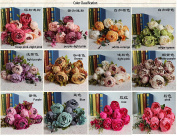 Bridal Wedding Party Festival Xmas Artificial Peony Silk Flower Decoration Bouquet 1pc