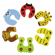 Aussel 6 Pieces Cut Cartoon Animal Foam Door Stopper Cushion for Baby Children Safety Finger Protection Mommy Good Helper