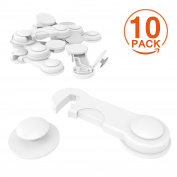 [10 Pack] Cupboard Child Locks, CANWN Child Drawer Safety Locks Strong Adhesive Baby Door Locks Safety Lock Latch for Drawer and Cabinet Door No Drilling or Tools