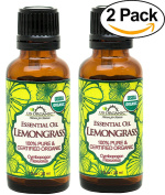 US Organic 100% Pure Lemongrass Essential Oil - USDA Certified Organic - 30 ml - Pack of 2 - w/ Improved caps and droppers