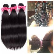 Ms Love Hair 7A Brazilian Straight Virgin Hair 3 Bundles Remy Human Hair Extensions 100% Unprocessed Hair Bundles Natural Colour 95-100g/pc(41cm + 46cm + 50cm )