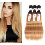 Durian Hair Brazilian Straight Human Hair Ombre Colour T1B-27 Straight Ombre Hair Weave 3 Bundles 300g (50cm 50cm 50cm ) inch