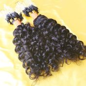 LUFFYWIG 100pcs 0.9g/Pcs Curly Micro Loops Extension 8A Grade Natural Colour Peruvian Human Hair Micro Loop Ring Extensions 90g