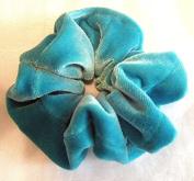 Solid Turquoise Velvet Scrunchy-Small