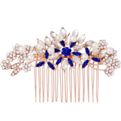 Fairy Moda Flower Crystal Bridal Hair Comb Rose Gold with Pearls