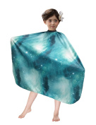 WM BEAUTY Kiddie Cape Galaxy Interstellar Print Styling Hair Salon Children Shampoo Cape Green
