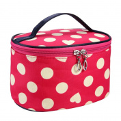 TRENDINAO Green/Hot Pink/Orange/White/Watermelon Red Cosmetic Makeup Bag Case Handle Round Dot Large Travel Organiser Holder With Mirror