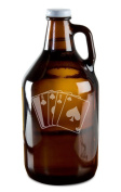 Dead Man's Hand Poker Player Hand-Made Etched Glass Beer Growler 1890ml