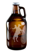 Cowboy Riding Horse Hand-Made Etched Glass Beer Growler 1890ml