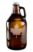 Canadian Pride Maple Leaf Hand-Made Etched Glass Beer Growler 1890ml