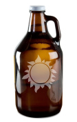 Hot Burning Sun Hand-Made Etched Glass Beer Growler 1890ml