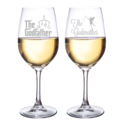 Abby Smith The Godfather and The Godmother Wine Glasses, Set of 2