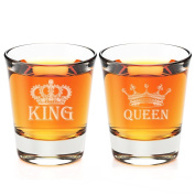 King and Queen Engraved Fluted Shot Glass