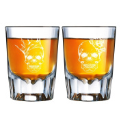 Skull King and Skull Queen Engraved Barcraft Fluted Shot Glass