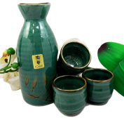 Atlantic Collectibles Japanese 350ml Ceramic Green Wetlands Reed Rice Wine Sake Set Flask With Four Cups