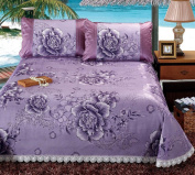 Ice Silk Water Washing Bed Skirt Three - Piece European - Style Lace Liangxi Suite Ice Silk Air - Conditioned Mattress Bed Cover,Purple