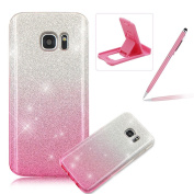 For Samsung Galaxy S7 Case,For Samsung Galaxy S7 Soft TPU + PC Back Cover,Herzzer Luxury Silm Thin 3 in 1 [Pink Gradient Colour] Bling Sparkle Glitter Hybrid Layers Protection Shock-Absorption Case for Samsung Galaxy S7 + 1 x Free Pink Cellphone Kickst ..