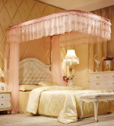 U-type Princess Telescopic Mosquito Net Square Top Three Doors Thick Stainless Steel Mosquito Net Bed Canopy Curtain ( Colour : Pink , Size : 1.8m