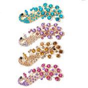 Bluelans® Pack of 4 Lady Fashion Elegant Peacock Design Shiny Rhinestone Hairpin Hair Clips Barrettes