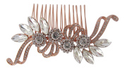 Pick A Gem Bridal Wedding Vintage Style Rose Gold Crystal Embellished Hair Slide Side Comb