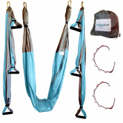 Aerial Yoga Swing - Gym Strength Antigravity Yoga Hammock - Inversion Trapeze Sling Equipment with Two Extender Hanging Straps - Blue Pink Grey Swings & Beginner Instructions Guide