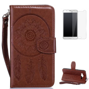 Samsung Galaxy J5 2015/J500FN Case [with Free Screen Protector],CaseHome Mandala Dreamcatcher Feather Pattern Folio Flip Magnetic Closure Wallet Design with Card Slot and Wrist Strap Stand Feature Shockproof Soft Rubber Bumper Protective Faux Leather C ..