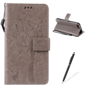 Apple iPhone 7 Plus 5.5 Case,Feeltech Embossed Tree Cat Butterfly Flower Pattern Design [Stylus Pen] for Apple iPhone 7 Plus 5.5 Cover,Elegant PU leather folio Wallet Case [Magnetic Closure] Fexible Soft Silicone Inner Rubber Stand Function Credit Card ..