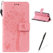 Apple iPhone 6/6S 4.7 Case,Feeltech Embossed Tree Cat Butterfly Flower Pattern Design [Stylus Pen] for Apple iPhone 6/6S 4.7 Cover,Elegant PU leather folio Wallet Case [Magnetic Closure] Fexible Soft Silicone Inner Rubber Stand Function Credit Card Slo ..