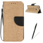 Huawei P9 Lite Case,MAGQI Premium Soft PU Leather Slim Fit Notebook Wallet Case Luxury Retro Two-Colour Design [Kickstand] Stand Function Card Slots & Holder Magnetic Flip Protective Skin Full Body Protection Cover with Detachable Hand Strap + Free Sty ..