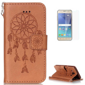 Samsung Galaxy J5 2016/J510FN Leather Wallet Case [with Free Screen Protector],KaseHom Dreamcatcher Feather Pattern Design Embossed Book Style Folio Flip Magnetic Closure Stand Function with Card Slots and Detachable Wrist Strap Synthetic PU Leather Pr ..