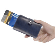 ManChDa RFID Blocking Credit Business Card Holder Aluminium Pop-up Card Case Men Pocket Money Wallet Blue