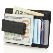 YOOMALL Genuine Leather Magnet Money Clip Front Pocket Wallet with Card ID Case