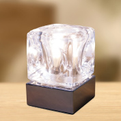 Modern Chrome & Glass Ice Cube Touch Table Light Lamp Chrome base 4 Touch Control