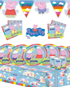 Peppa Pig Children's Birthday Party Kit for 8,16,2432featuring new style banner!