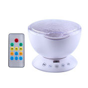 Ocean Wave Projector, Remote Control 12 LED RGB 7 Colours Night Light , Built-in Mini Music Player with 4 Music for Kids Child Baby Girl Son Adults Bedroom Living Room, White