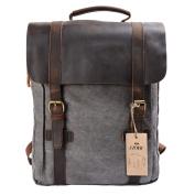 S-ZONE Updated Double Zipper Version Unisex Vintage Canvas Genuine Leather Travel School Bag 15.6 Laptop Backpack Rucksack Daypack