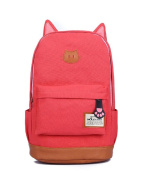 Moolecole Leather & Canvas Backpack School Bag Laptop Backpack with Cat's Ears Design,Set with 1pc Wallet