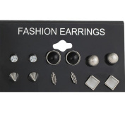 New 6 Pairs/Set Fashion Punk Crystal Stud Earrings For Women Men