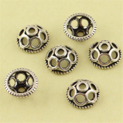 MFMei 8mm Antique Style Hollow Round Bead Caps, Sterling Silver Flower Caps